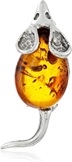 Sterling Silver and Honey Amber Very Small Mouse Pin