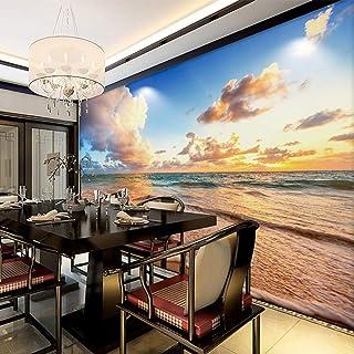 Papel tapiz Foto Mural 3D Wallpaper Hd Hermoso Cielo Playa Olas Paisaje Mural Salón Dormitorio Fondo Pintura Mural Decoración,450X300cm