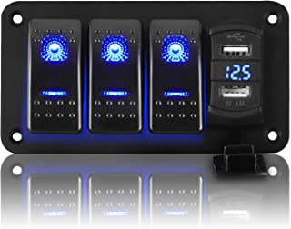 Linkstyle Boat Switch Panel Waterproof, 3 Gang ON Off Toggle Switch Panel with 4.8A Dual USB Charger Socket with Blue LED Digital Voltmeter Gauge on Marine, Boat, Car, Golf Cart, UTV, ATV, etc