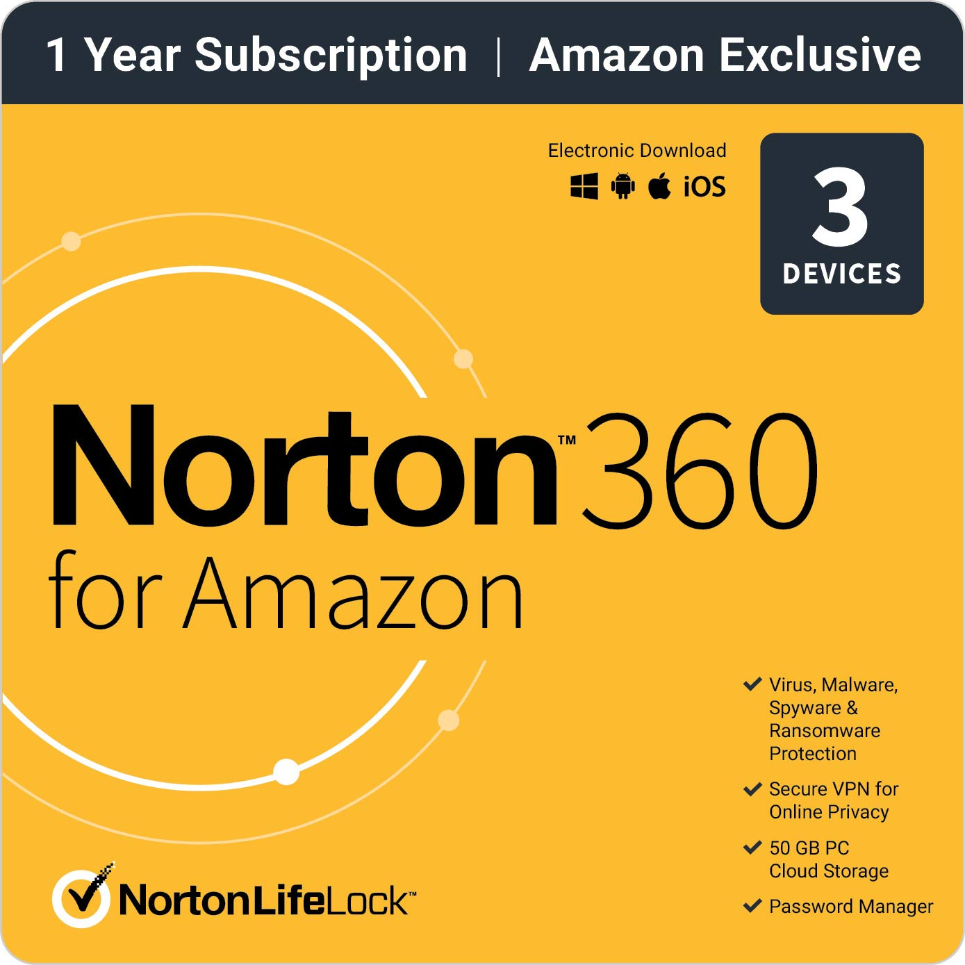 Norton 360 for Amazon  Antivirus software for up to 3 Devices with Auto Renewal