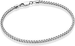Miabella Solid 925 Sterling Silver Italian 2.5mm Franco Square Box Link Chain Bracelet for Men Women 7, 8, 8.5 Inch Made i...