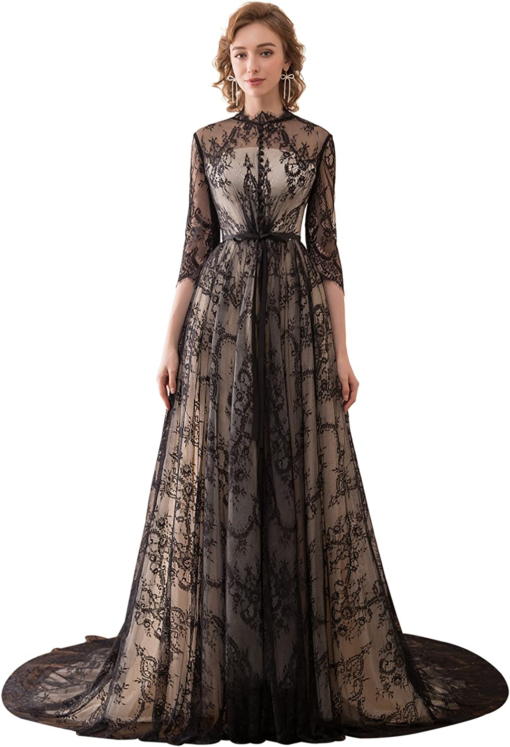 Epinkbridal Lace Evening Formal Gowns with 3 4 Sleeve Long Elegant Wedding Guest Dress