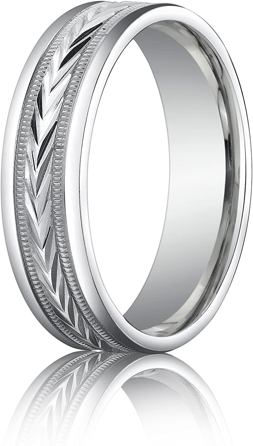 Men's 10K White Gold 6mm Comfort Fit Wheat Round Edge Carved Wedding Band Ring
