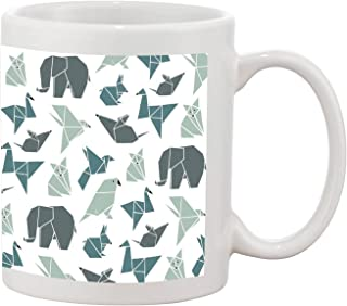 Grey Green Origami Animals Jungle Minimal Art Design Collection Ceramic Printed Mug Coffee Tea Cup 11oz