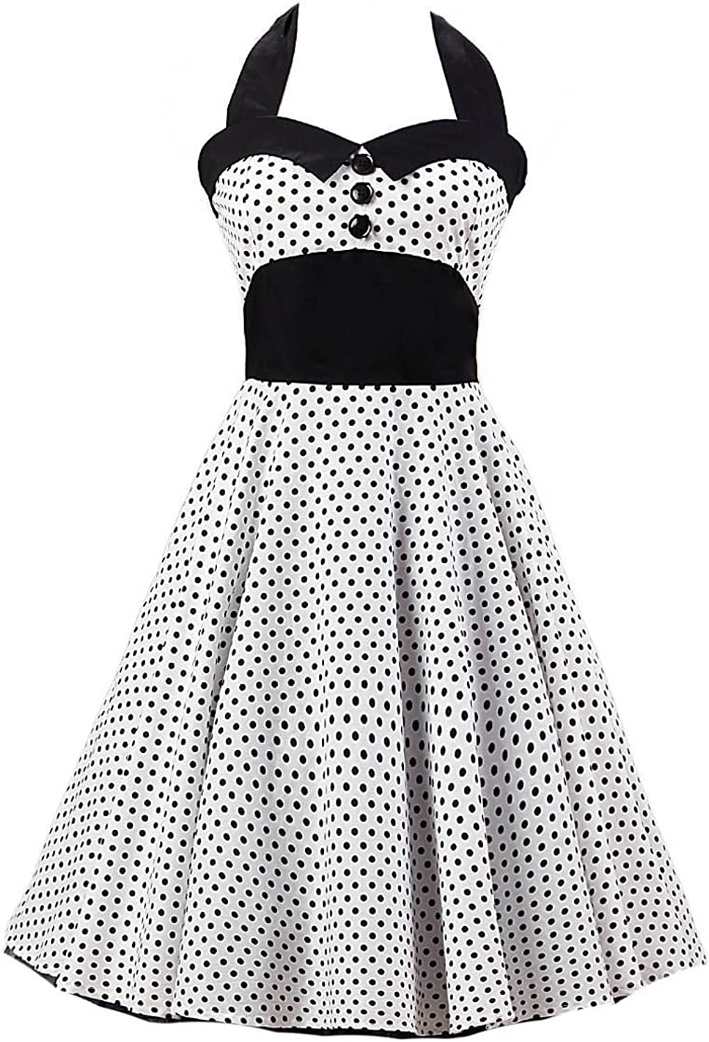 Ensnovo Womens Halter 50s Vintage Rockabilly Polka Dots Party Cocktail Dress