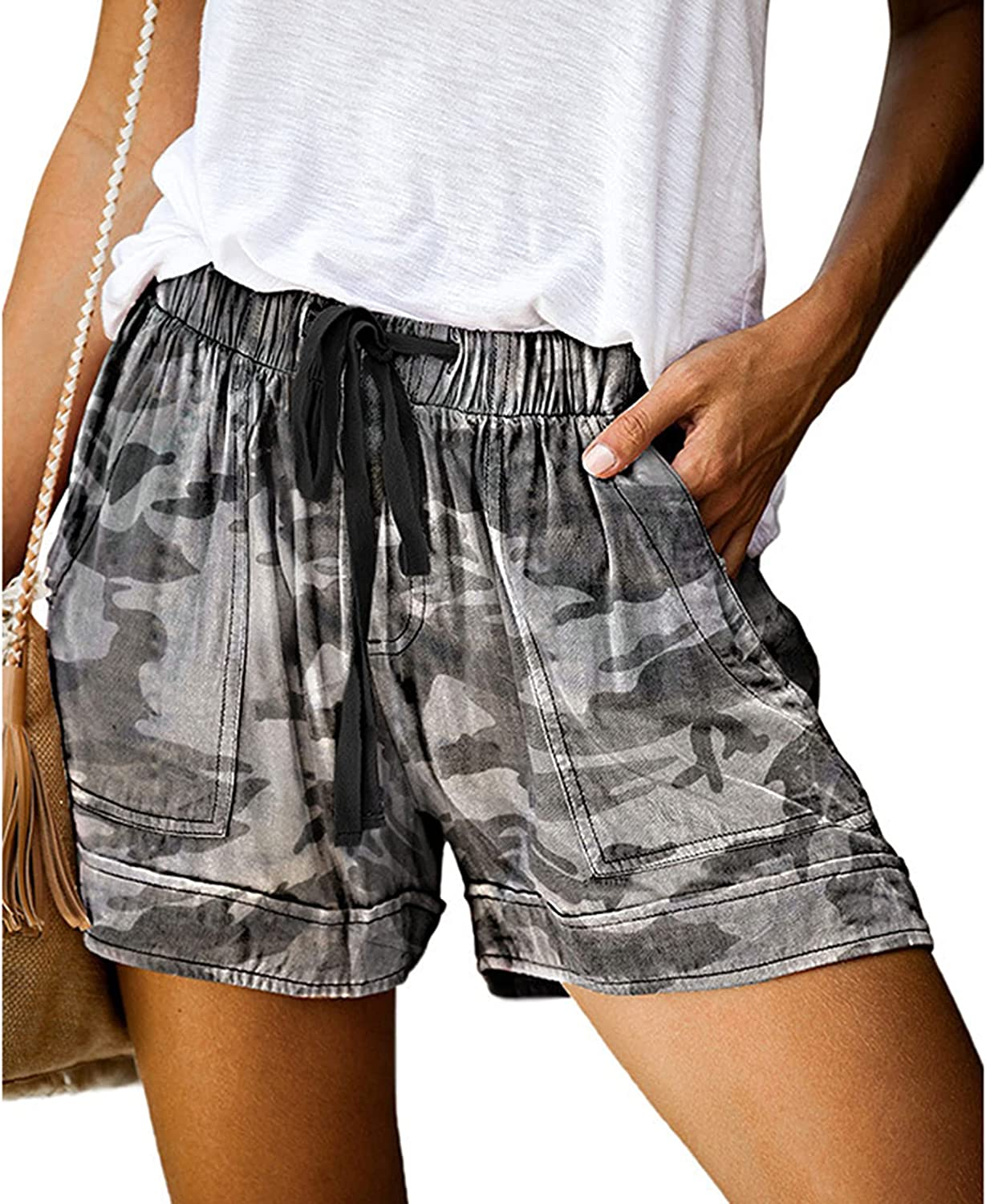 Lu's Chic Women's High Rise Shorts Cute Cotton Comfy Lounge Drawstring Relaxed Fit Cool Shorts