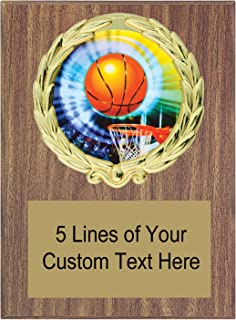 Express Medals 5x7 Walnut Color Basketball Plaque Award Trophy with Engraved Plate MY4