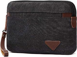 Canvas Wristlet Bag Large Clutch Wallet Purse Zipper Pouch Handbag Organizer with Leather Strap for Women Men