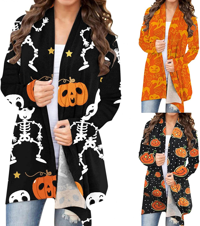 AIHOU Halloween Clothes for Women Pumpkin Face Black Cats Skeleton Print Cardigan for Women Comfy Long Sleeve Coat Blouses