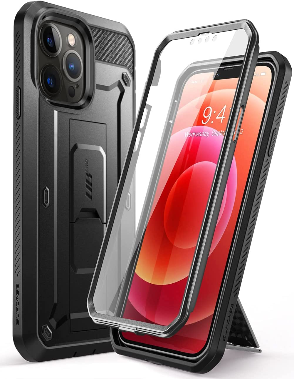 SUPCASE Unicorn Beetle Pro Series Case for iPhone 13 Pro Max (2021 Release) 6.7 Inch, Built-in Screen Protector Full-Body Rugged Holster Case (Black)