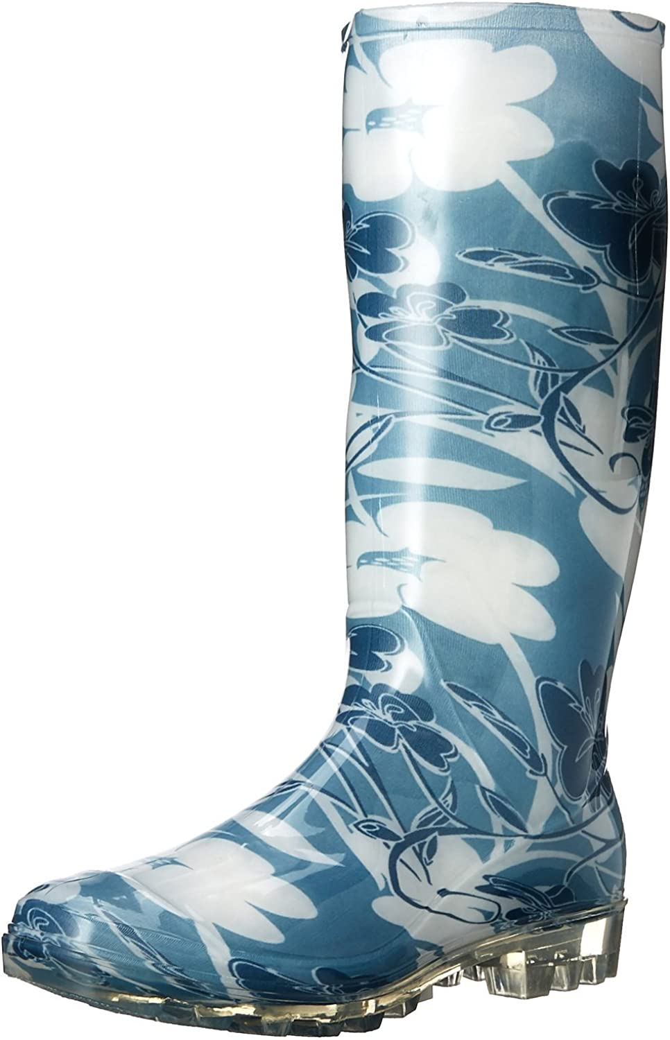 EasyUSA Women's Shiny Solid Black Rubber Rain and Garden Boot,5 B(M) US,bluee Floral