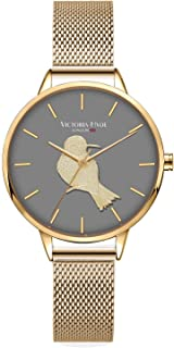 VICTORIA HYDE Women Quartz Watches Stainless Steel Mesh Band Unique Dial Ladies Wrist Watch