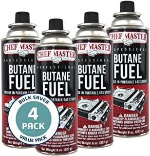 Chef Master 90340 | Pack of 4 Butane Fuel Cylinders| 8oz Butane Canisters for Portable Stove | Butane Torch Replacement Ca...