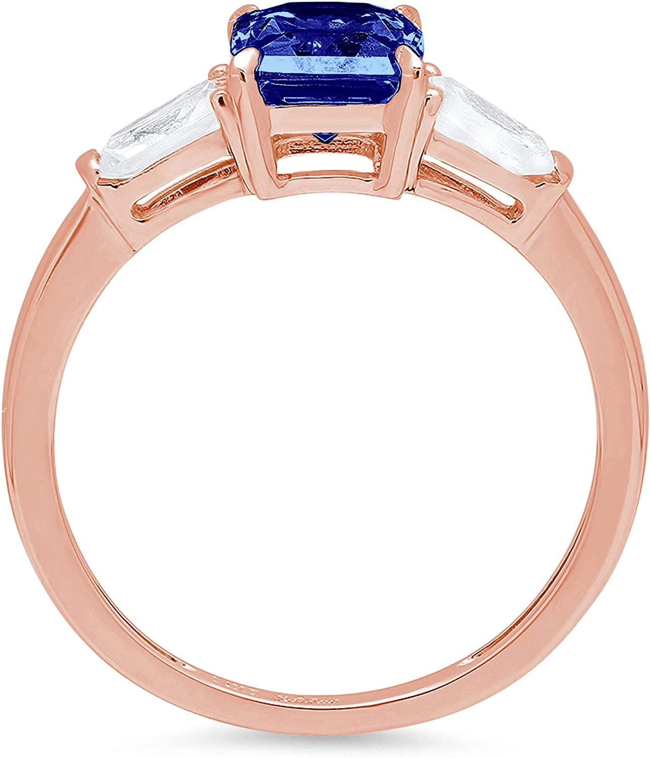 2.05 ct Emerald Baguette cut 3 stone Solitaire with Accent Stunning Genuine Flawless Simulated Blue Tanzanite Modern Promise Statement Designer Ring 14k Rose Gold