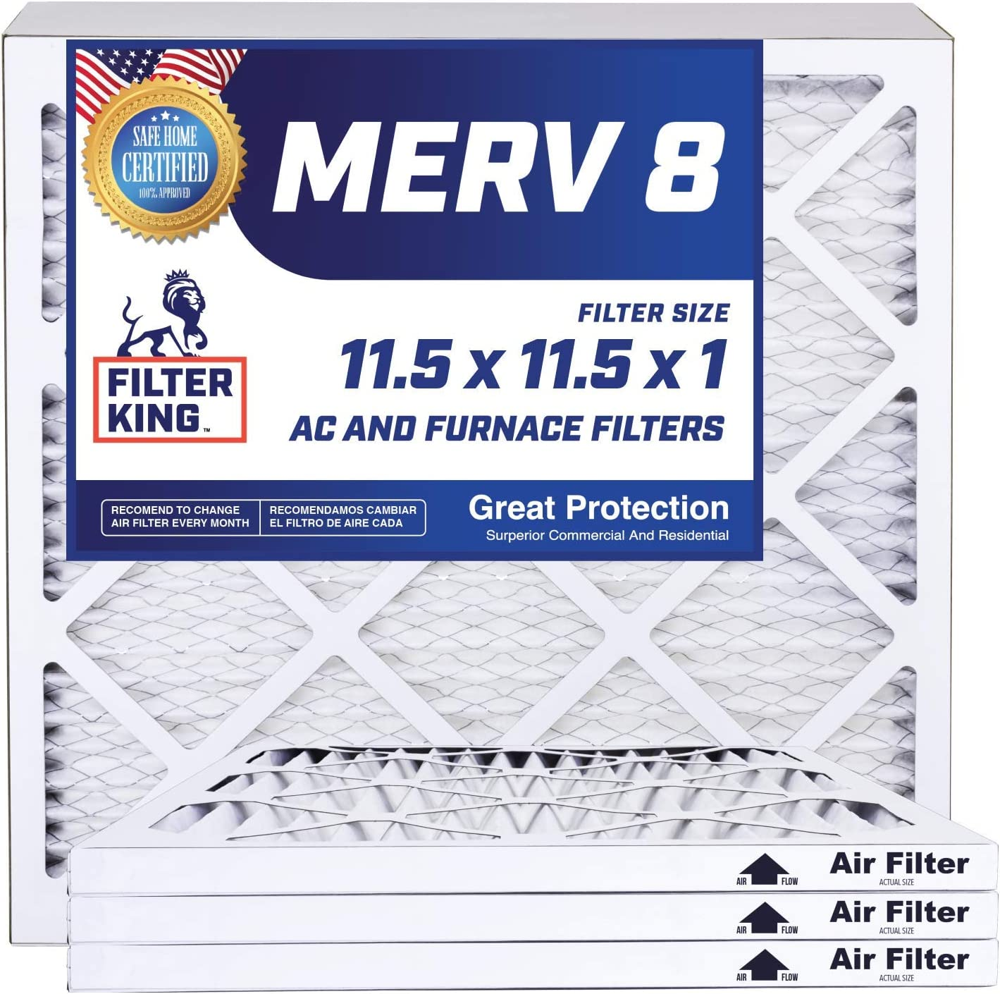 Filter King Directly managed store Max 71% OFF 11.5x11.5x1 Air Filters 4 Pack Pleat HVAC MERV 8