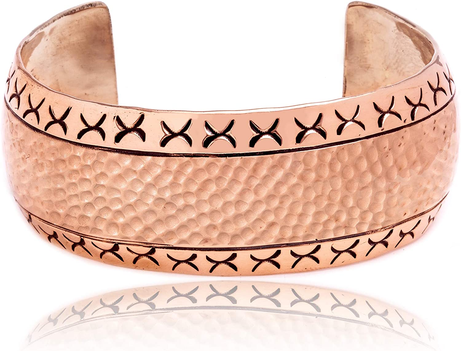 $150Tag Hammered Copper Certified Navajo Native American Cuff Bracelet 12939 Made by Loma Siiva