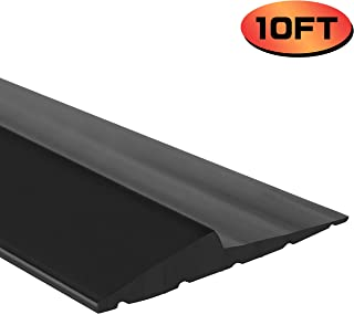 Universal Garage Door Bottom Threshold Seal Strip,Weatherproof Rubber DIY Weather Stripping Replacement, Not Include Sealant/Adhesive (10Ft, Black)