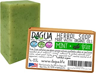 Soap made with organic ingredients cold processed vegan cruelty free made in the USA (Peppermint and detox grass, 1 count)