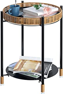 Greenstell Side Table, Metal Round Tray Side Table with Removable Tray, Folding Side Table, 2-Tier End Accent Table for Li...