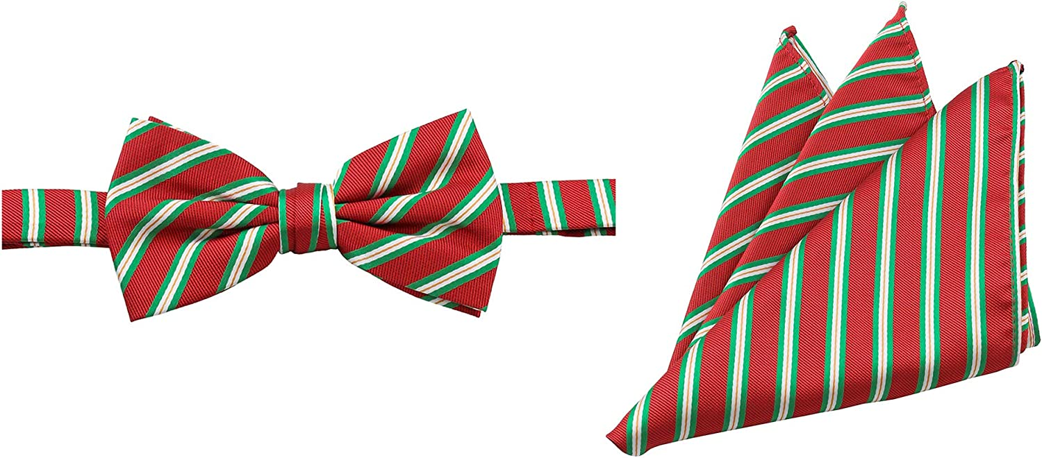 Jacob Alexander Men's Holiday Christmas Red with Diagonal Green White Stripes Pre-Tied Banded Bow Tie and Pocket Square Set