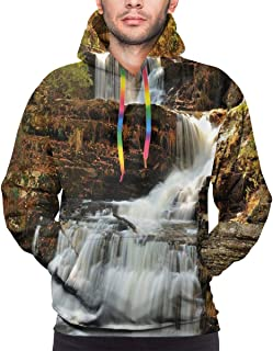 Men's Hoodies Sweatershirt,Upper Falls at Delaware Water Gap Autumn Nature Forest Scenery Cascade,