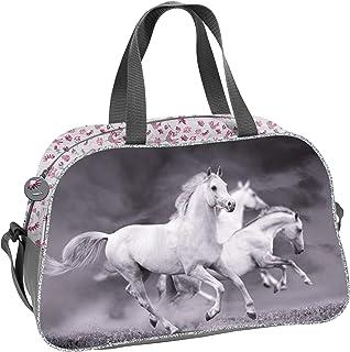 UNIVERSAL Tasche 40x25x13 cm - Motiv Pferde - GRAU/ROSA