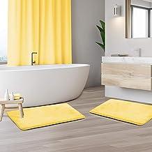 "Memory Foam Bathrug 2 Pack Set - Mellow Yellow - Bath Mat and Shower Rug Small 17"" x 24"" Inches, Non Slip Latex Free Plush..."