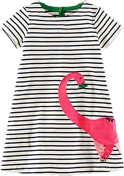 lymanchi Toddler Girl Short Sleeve Striped Cartoon Applique Casual T-Shirt Dress