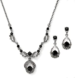 Jet Hematite Black Vintage Crystal Necklace & Earrings Jewelry Set for Prom, Bridal, Bridesmaids