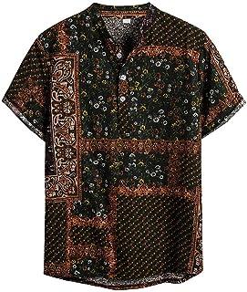 FossenHom Camisas Hombre Verano 2020 Blusa de Camisa Hawaiana con Estampado de Lino y Algodón étnica - Camisa Hombres Bara...