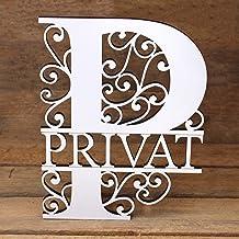 Privé bord met ornamenten letter P gegraveerd - deurbordje hout zelfklevend 15x19cm   Dekolando