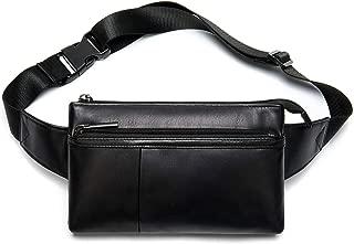 Fanny Pack for Men and Women, Super Lightweight Waist Pack Belt Bag Hip Crossbody Purse - Soft Lambskin Leather Black