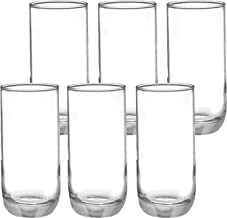 Amazon Brand - Solimo Anya High Ball Glass Set, 360ml, Set of 6, Transparent