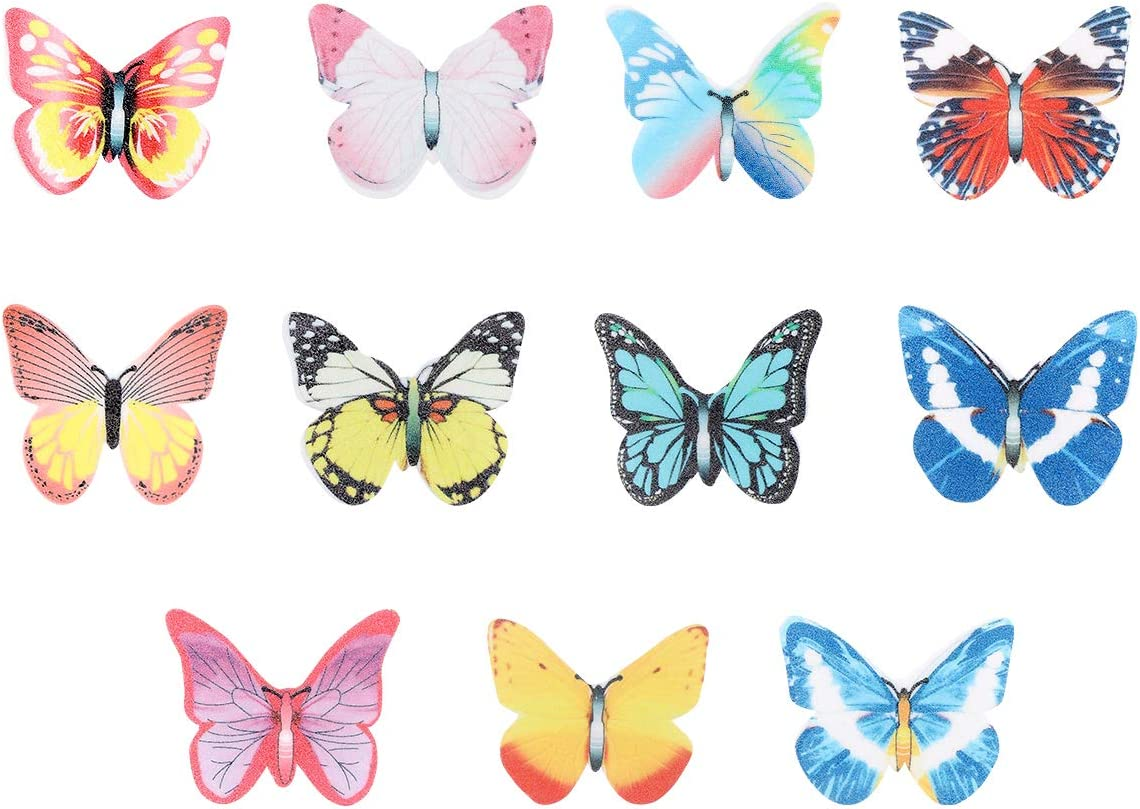 New product! New type Garneck 40pcs Edible Cupcake Toppers Long Beach Mall Rice Butterfly Cake Paper