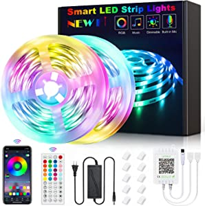 New Fi Led Lights for Bedroom, Led Strip Lights 65.6ft Music Sync RGB Rope Lights Smart App Controlled Tape Lights, 5050 RGB Flexible Color Changing Remote Controll for Room Party Home Decoration