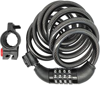 SEPOX Black Bike Lock 6-Feet Self Coiling Bike Cable Lock with 4-Digit Combination and Mounting Bracket,6 Feet x 2/5 Inch