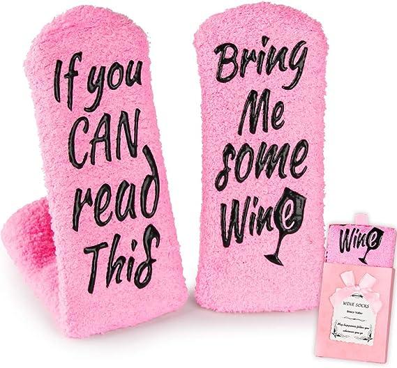 These Fuzzy Wine-Themed Socks