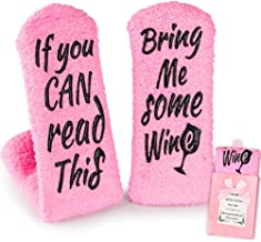 Wine Gifts for Women Her, Christmas Present Funny Gifts for Mom Grandma Friend, Birthday Gift Ideas, If You Can Read This Bring Me Some Wine Socks, Stocking Stuffers Wine Accessories Gift Boxes - Pink