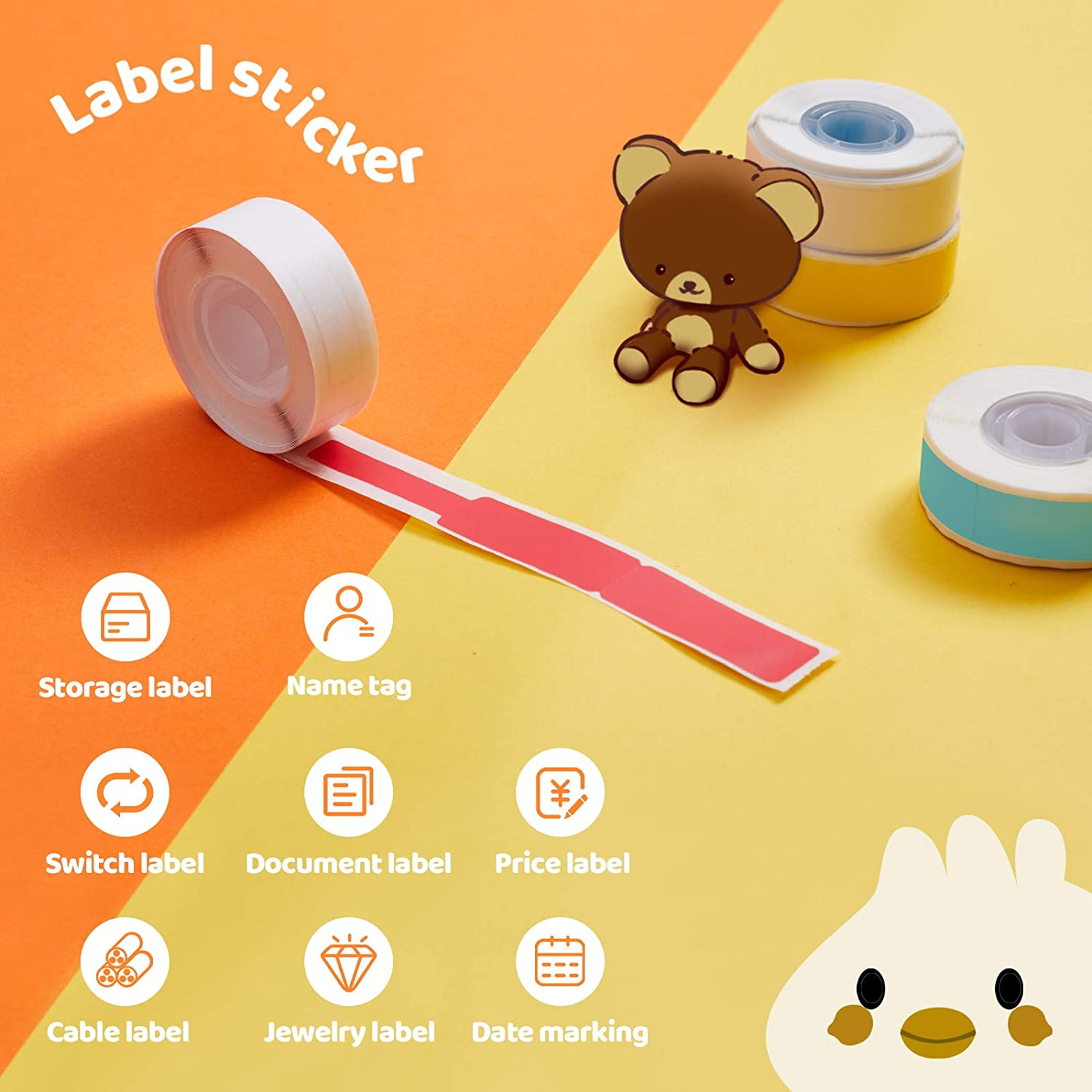 Compatible with MUNBYN Bluetooth Label Maker 260 Labels//roll Office 0.47 x 0.87 12mm x 22mm School Suitable for Home Self-Adhesive Label MUNBYN Thermal Label 10 Rolls