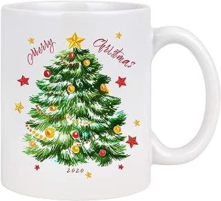 Merry Christmas 2020 Coffee Mug with Large Christmas Tree Novelty Ceramic Mug Tea Cup Christmas Festival Gift for Family Friends Christmas Decoration 11 Ounce