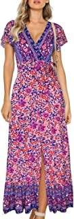 Best pretty bohemia floral v neck maxi dress Reviews