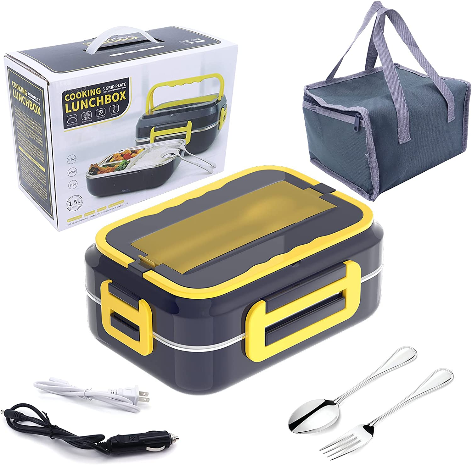 Buwico Electric Lunch Box for Car and Home, Man/Woman Portable Microwave for Travel, food warmer lunch box with Carry Bag, Includes 3 Compartments Removable 304 Stainless Steel Food Heater Container