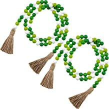 2 Pieces St. Patrick's Day Easter Wood Bead Garlands with Tassels 10.8 Feet Farmhouse Rustic Country Wood Bead Garland Pra...