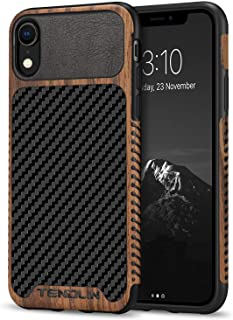 TENDLIN Compatible with iPhone XR Case Wood Grain with Carbon Fiber Texture Design Leather Hybrid Slim Case Compatible wit...