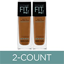 Maybelline Fit Me Matte + Poreless Liquid Foundation Makeup, Cappuccino, 2 COUNT Oil-Free Foundation