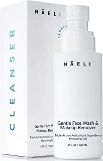Gentle Face Wash & Makeup Remover - Berry Antioxidant Cleanser with Vitamin C & Hyaluronic Acid - Purifies, Hydrates & Bri...