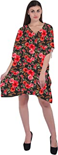 RADANYA Floral Women's Casual wear Cotton Kaftans Swimsuit Cover up Caftan Beach Short Dress
