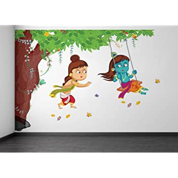Rawpockets Decals 'Lord Krishna Playing Swing Under Tree' Wall Sticker - (PVC Vinyl, 105 cm x 75 cm, Multicolour)
