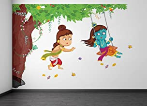 Rawpockets Decals 'Lord Krishna Playing Swing Under Tree' Wall Sticker - (PVC Vinyl, 105 cm x 75 cm, Multicolour)