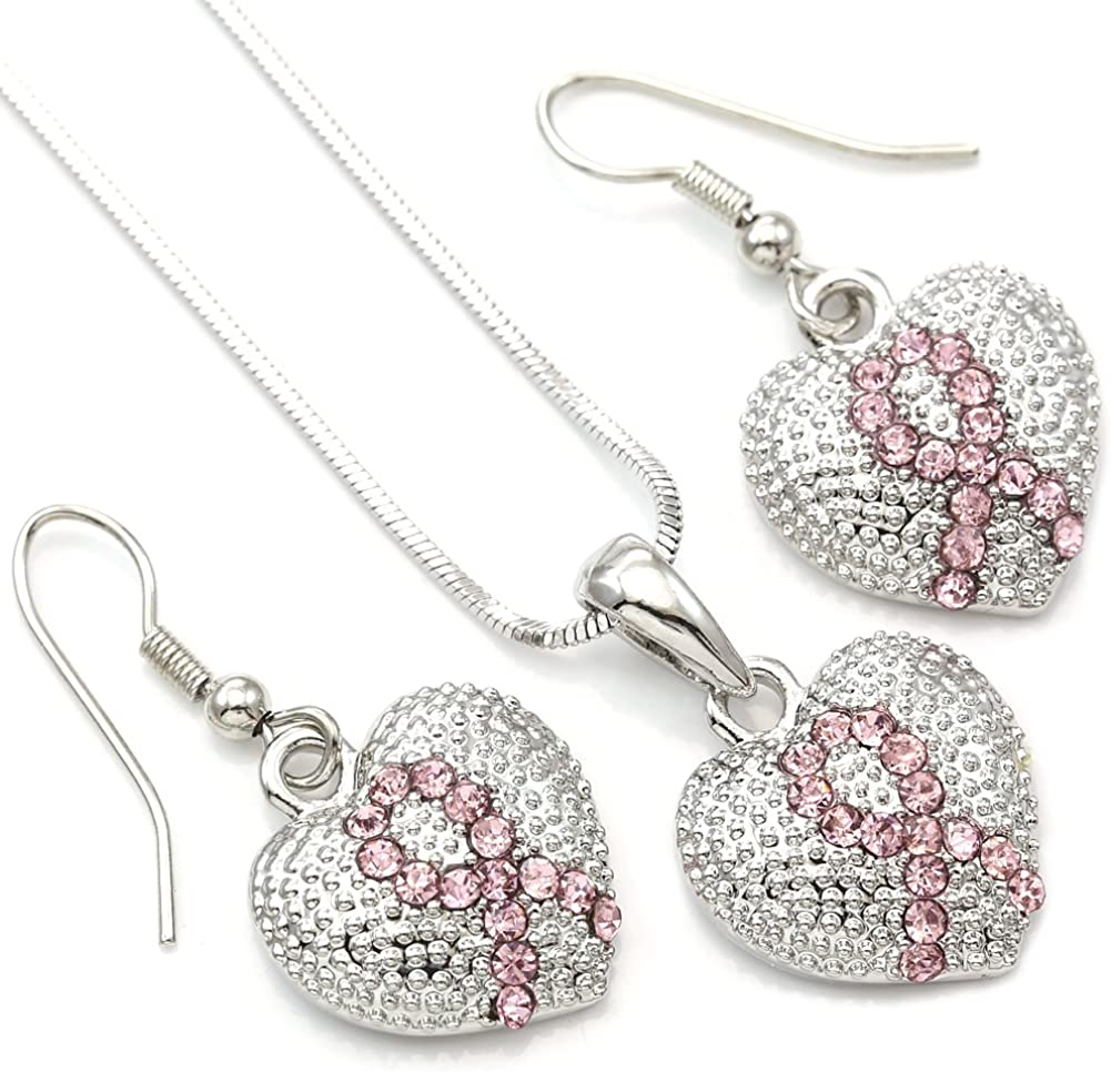 Soulbreezecollection Pink Ribbon Breast Cancer Awareness Heart Pendant Necklace & Earrings Set Jewelry